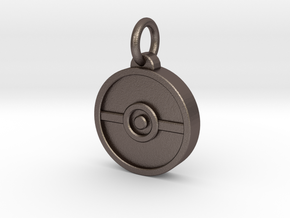 Pokeball Pendant in Polished Bronzed Silver Steel