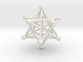 Stellated Dodecahedron pendant 40mm in White Strong & Flexible