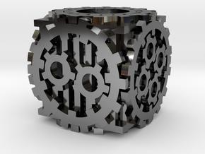 Steampunk D6 in Fine Detail Polished Silver