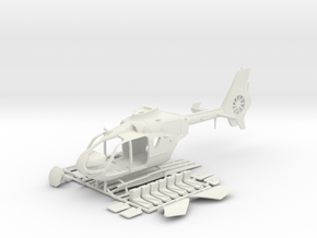 Helicopter Eurocopter EC135. HO Scale HO (1:87) in White Natural Versatile Plastic