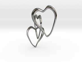 Trinity Hearts  in Fine Detail Polished Silver