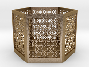 Islamic Pattern Candle Holder 2 in Polished Gold Steel