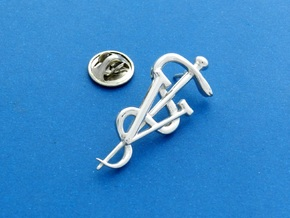Rod Of Asclepius Veterinarian Lapel Pin in Fine Detail Polished Silver