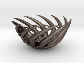 Flare Tealight Holder in Polished Bronzed Silver Steel