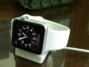 Compact Apple Watch Stand in White Natural Versatile Plastic