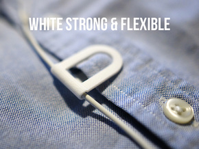 Headphone cable clip in White Strong & Flexible