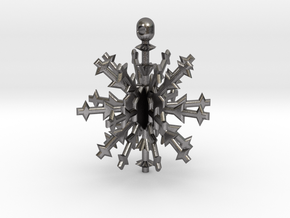 3D Snowflake Ornament in Polished Nickel Steel