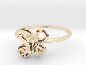 Clover Ring Size US 6.5 (16.8mm) in 14k Gold Plated Brass