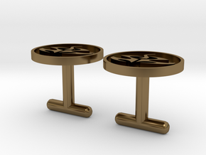 Agent 47 cufflinks, larger size in Polished Bronze