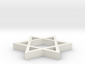 A simple Davids star emblem (Magen David in White Natural Versatile Plastic
