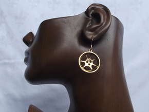 "Double guitar ""Essence"" steelpan earrings, M in Polished Bronze"