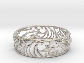 Sardine Wave Bracelet in Rhodium Plated Brass