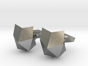 Faceted Cat Face Cufflink in Natural Silver