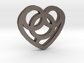 Heart / Corazón in Polished Bronzed Silver Steel