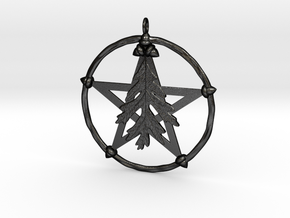 Oak Leaf Pentacle Pendant in Matte Black Steel