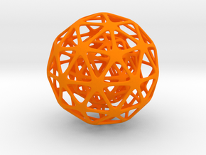 Nested Spheres  in Orange Processed Versatile Plastic