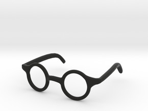 Eye Glasses Frame Circle: FOR MSD BJD doll size in Black Natural Versatile Plastic