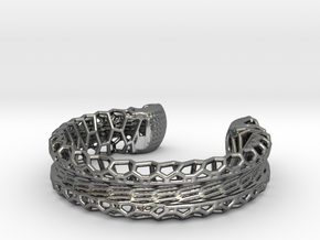 Skeletonized Voronoi Bracelet in Polished Silver
