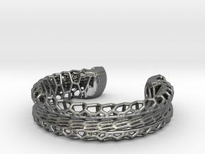 Skeletonized Voronoi Bracelet in Polished Silver