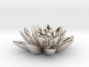 Lotus Necklace For Diamond Ø5mm Medium in Rhodium Plated Brass