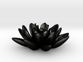 Lotus Necklace For Diamond Ø5mm Medium in Matte Black Steel