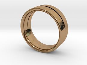 Design Ring Double Split Ø16.60 Mm Size 52 in Polished Brass