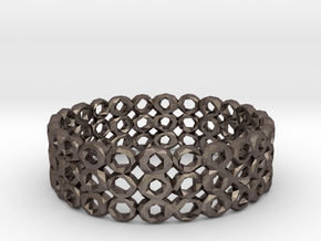 Ring Bracelet Low Polygon in Polished Bronzed Silver Steel