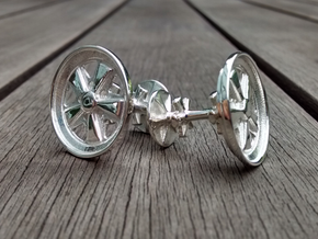 Porsche Fuchs wheel inspired cufflinks in Polished Silver