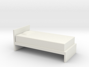 1:24 Simple Twin Bed in White Natural Versatile Plastic