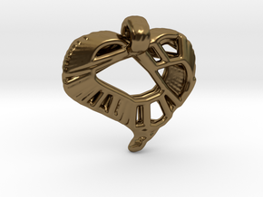 Voronoi Stylized Heart Pendant in Polished Bronze