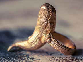 Sperm whale Ring  in Polished Gold Steel