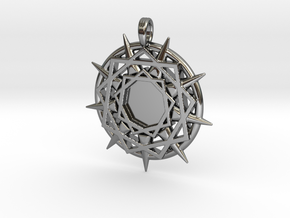 ENNEAGRAM COMPASS in Fine Detail Polished Silver