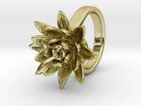 Lotus Ring For Diamond 8 mm Fit in 18k Gold Plated Brass