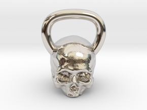 Kettlebell Skull in Rhodium Plated Brass