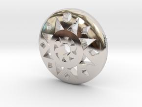 Sun Pendant  in Rhodium Plated Brass