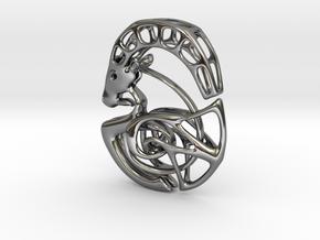 Capricorn Zodiac Pendant in Fine Detail Polished Silver