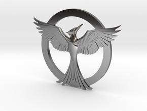 Mockingjay Pendant in Fine Detail Polished Silver