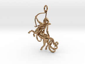 Sagittarius Zodiac Pendant in Polished Brass
