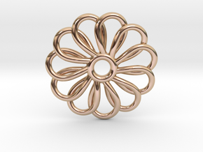 Abp01 Flower Pendant in 14k Rose Gold Plated Brass