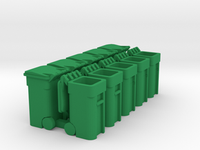 Trash Cart Mixed - HO 87:1 Scale Qty (10) in Green Processed Versatile Plastic