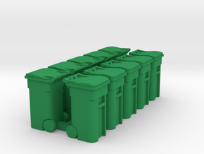 Trash Cart 64 gal - HO 87:1 Scale Qty (10) in Green Processed Versatile Plastic