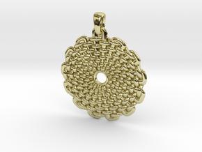 Wicker Pattern Pendant Big in 18k Gold Plated Brass