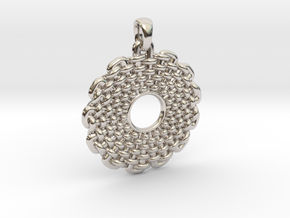Wicker Pattern Pendant Small in Rhodium Plated Brass