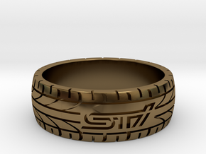 Subaru STI ring - 21 mm (US size 11 1/2) in Polished Bronze