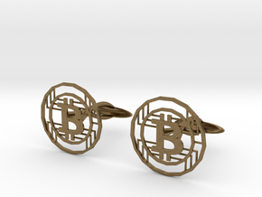 Bitcoin Cufflinks in Natural Bronze