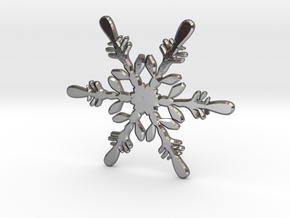 Snowflake - Christmas Tree Ornament (Bauble) in Polished Silver
