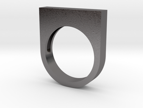 Modern Rectangle Bold Ring in Polished Nickel Steel