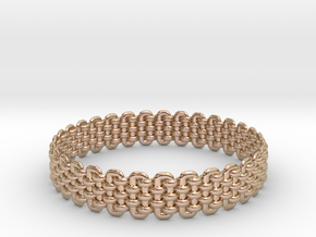 Wicker Pattern Bracelet Size 1 in 14k Rose Gold Plated Brass