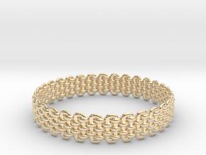 Wicker Pattern Bracelet Size 2 in 14k Gold Plated Brass