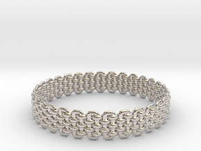 Wicker Pattern Bracelet Size 2 in Rhodium Plated